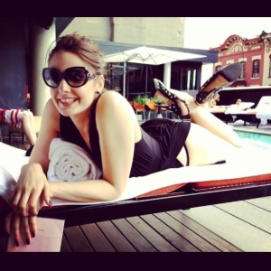 Here's me wearing them to a poolside sushi lunch with my bestie, international supermodel Elinor Arwyn (she took the photo)